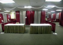 Burgundy & Grey Drapes with Taupe Skirts