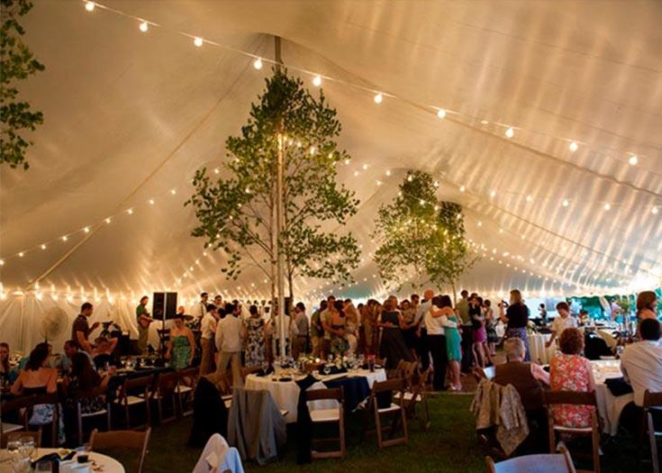 Image gallery tent lighting for Wedding tent lighting ideas